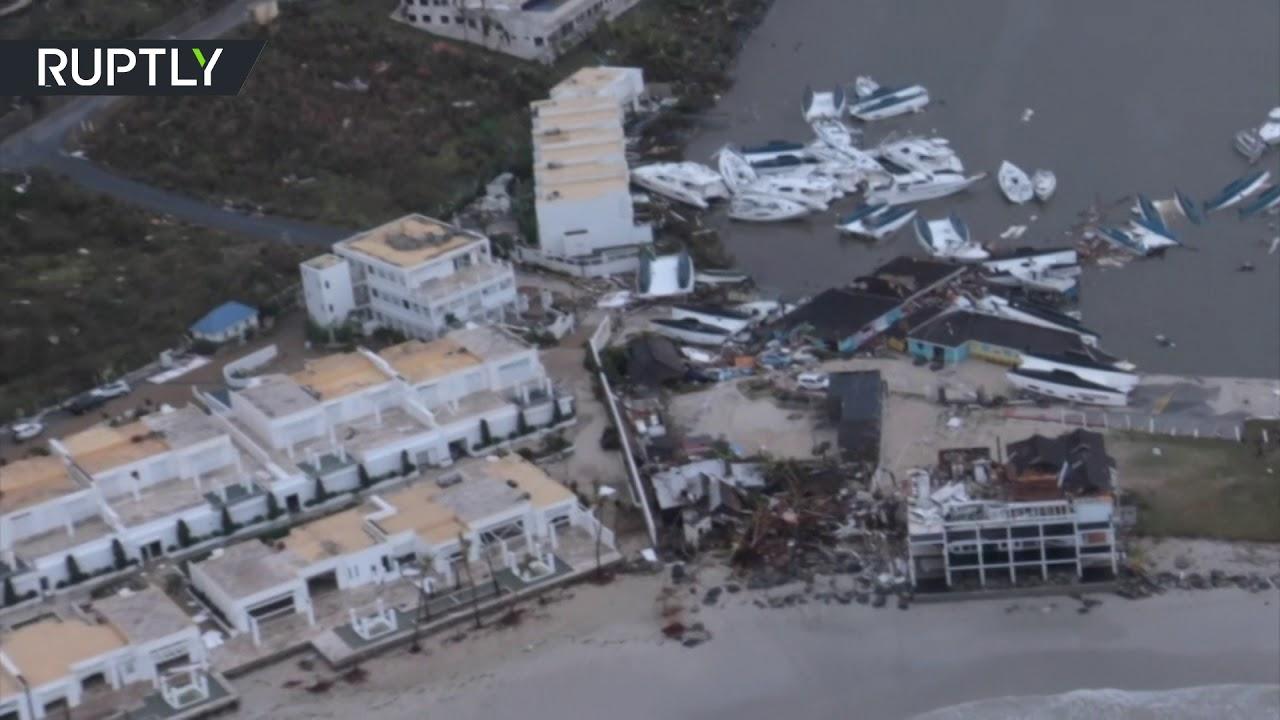 Devastation left by Hurricane Irma on Dutch Caribbean islands (AERIAL FOOTAGE)