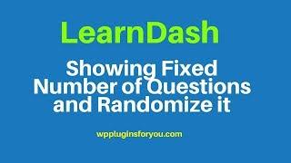 How to show random quiz in learndash