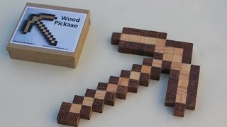Minecraft Pickaxe - Real Solid Wood. Build Yourself.