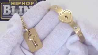 Gold Heart Bangle with Key Dogtag Necklace | Womens Fashion Jewelry
