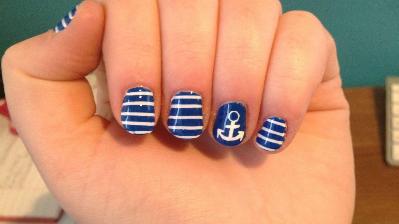 Floral Anchor Nails Anchor Stripes Nail Art
