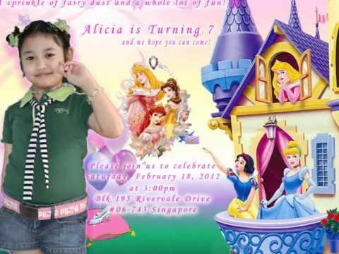 alicia's 7th birthday invitation - YouTube