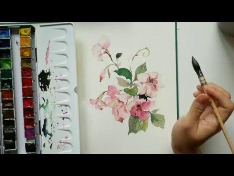 Speed Painting pink flower in watercolor