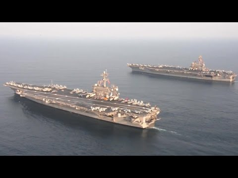 US Navy - USS Carl Vinson (CVN 70) & USS George H.W. Bush (CVN 77) In Tandem Formation [720p]