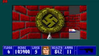Wolfenstein 3D - E1M6 - Walkthrough/Gameplay HD