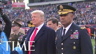 President Trump Officiated The Coin Toss At The Army-Navy Football Game | TIME