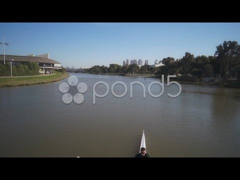 Sport extreme Kayaking in nature Yarkon River Israel. Stock Footage