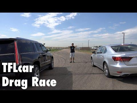2015 Cadillac Escalade ESV vs Lexus LS 460 Mashup Drag Race: $90K LS ...