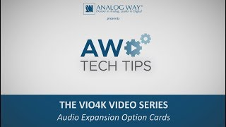 VIO 4K Video Series #2 - Audio Expansion Cards