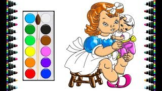 How to draw a girl for children - drawing and coloring for kids - bé yêu