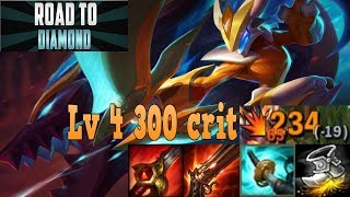 KINDRED JUNGLE IS OP|300 CRIT AT LV 4|LEAGUE OF LEGENDS ROAD TO DIAMOND