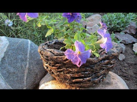Кашпо-горшок из цемента и ткани для дачи и сада