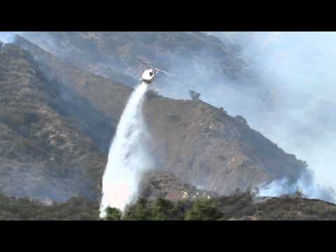 Los Angeles County Fire Helicopter #17 Low Drop Water in Narrow Canyon Glendale Mountain Fire Calif