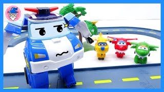 ROBOCAR POLI & SUPER WINGS rescue tool clip mission. play with mini diecast toys for kids