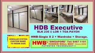Hidden Bed HDB Executive. HWB V938-SingleX2+Wardrobe+Storage Cabinets.HWB HUB.HDB.BTO.EC