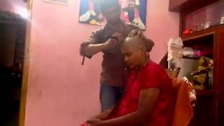 indian bhabhi home headshave by barber