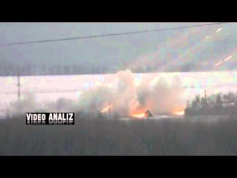 Донецк работают ГРАДы  / Donetsk firing pro-Russians rebels Grad