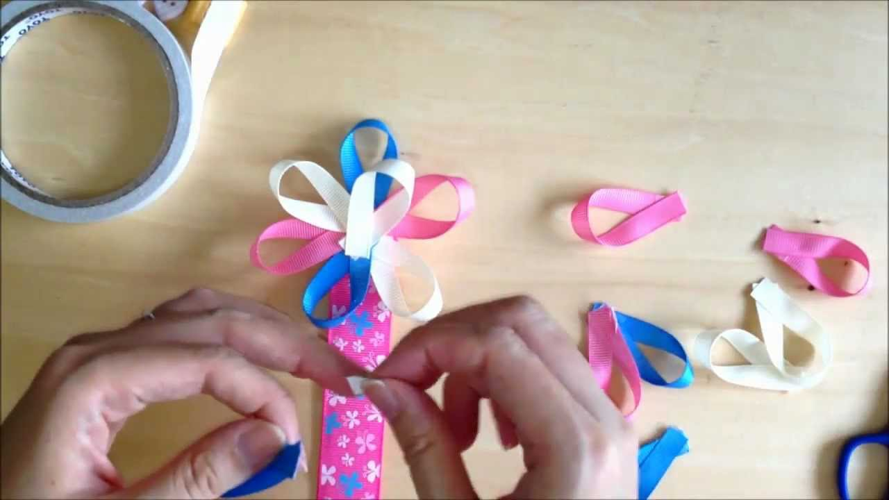 How To Make Flower Ribbon Bookmark Using Patterned Grosgrain Ribbons (For Kids) - By Kasey Crafts