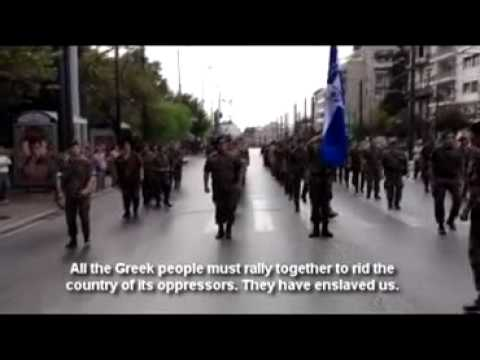 'Out of Greece- Special forces march in uniform, chant in anti-Merkel protest