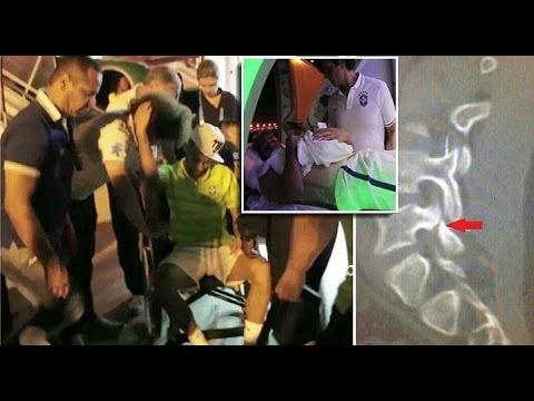 Neymar returns to Brazil camp by ambulance as X-ray reveals he suffered clean break of Vertebra