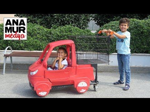 Market Alışveriş Arabası Baba Oğul Kız Test / Selim ve Maya Anamur