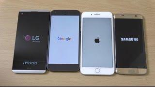 S7 Edge vs iPhone 7 Plus vs LG V20 vs Pixel XL Android 7.0 Nougat - Speed Comparison!
