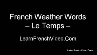 French Weather Vocabulary