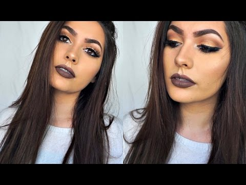 Brown Lips & Gold Smokey Eye Makeup Tutorial  Alexis Valdepena