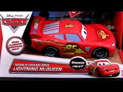 2013 Cars 2 World Grand Prix Lightning McQueen MEGA Flashing Lights & Sounds Disney toy Review