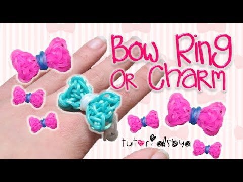 UPDATED Bow Ring / Charm Rainbow Loom Tutorial   How To