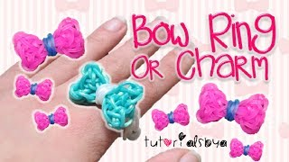 UPDATED Bow Ring / Charm Rainbow Loom Tutorial | How To