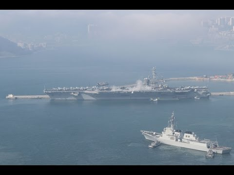 USS Nimitz Carrier Group heads out of Busan, Korea