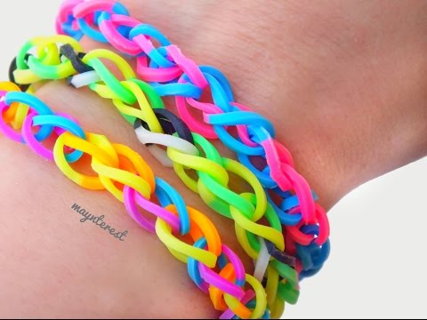 DIY PULSERA DE GOMITAS simple (con telar) - Rainbow loom
