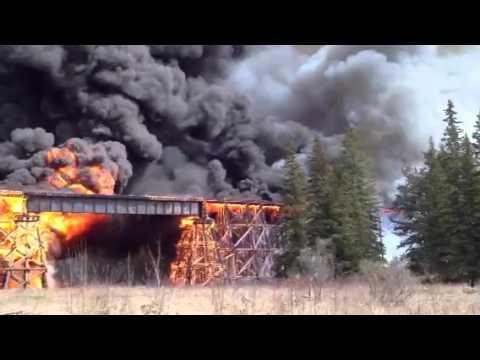 Fire Destroys Canada National Rail Trestle Bridge