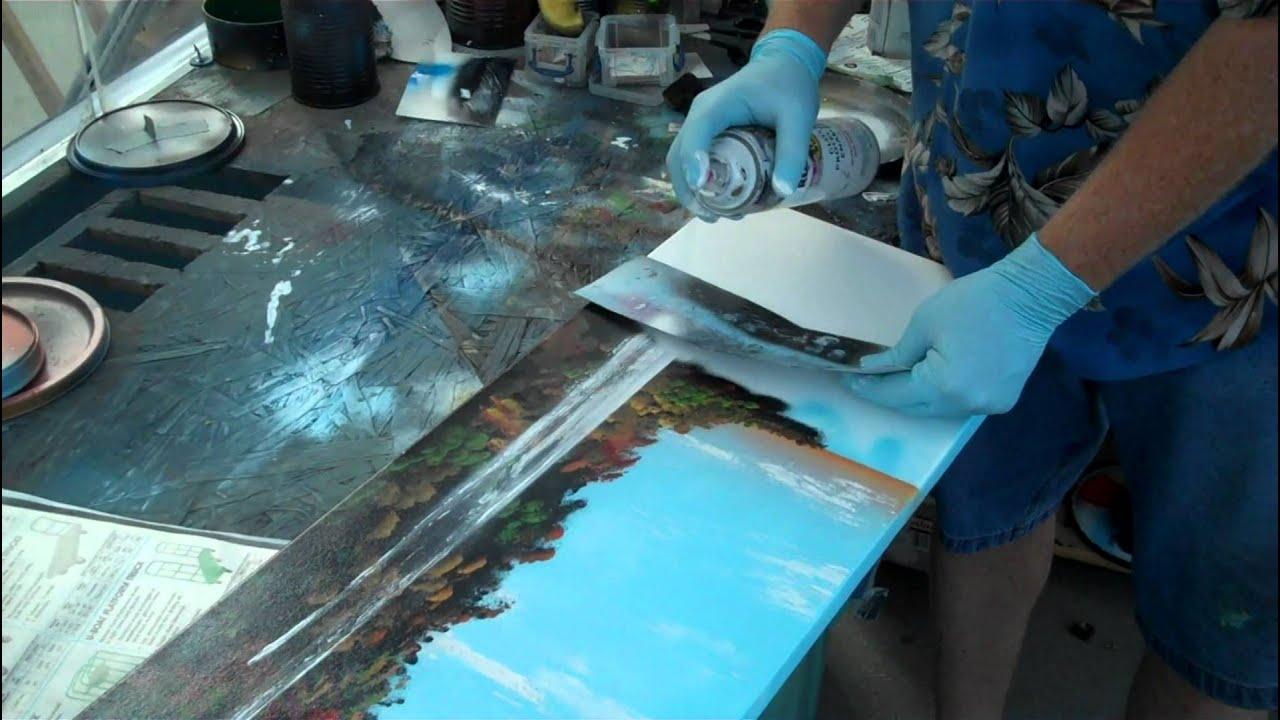 Spray paint art on canvas of tropical scene youtube for How to spray paint art on canvas