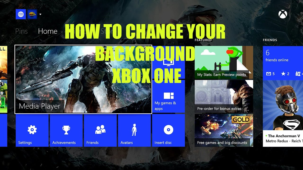 how to set and change backgrounds on xbox one youtube