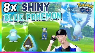 8x SHINY BLUE POKEMON CAUGHT in Pokemon Go! ( FIRST CATCH REACTIONS )