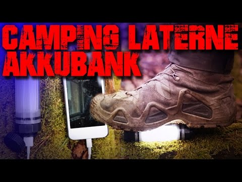 Camping Laterne Lampe Taschenlampe Akkubank Powerbank - Review Test - Outdoor Backpacking Bushcraft