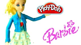 Play Doh Barbie dress up video tutorial. see how to make a play doh dress for barbie doll HD