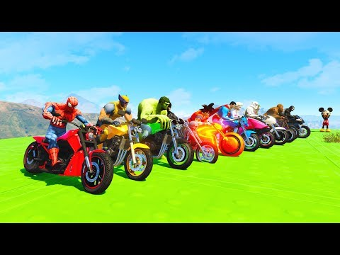 LEARN COLORS SPEED BIKE DOWNHILL w/ Superheroes Extreme Jump Fun Animation for Children