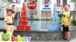 Coca vs Pepsi Pretend Play! Funny Kids & Play Stacking Game