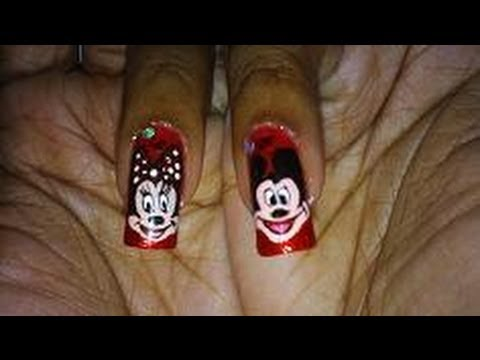 Red Blingy Mickey & Minnie Nail Art Design