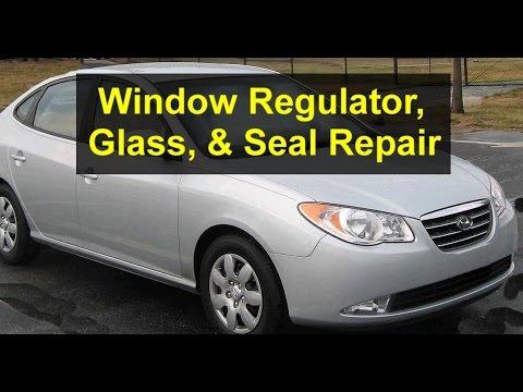 Window seal. regulator. glass repair or replacement. Hyundai Elantra - VOTD