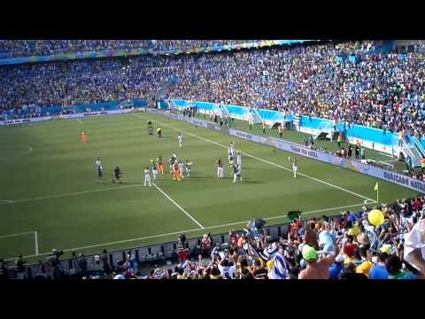 Final del partido en el Arena das Dunas, clasificación de Uruguay