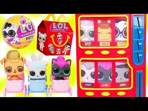 LOL Surprise Dolls Wave 2 Pets Vending Machine + Lil Sisters Visit McDonalds Happy Meal Drive Thru