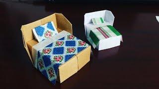 Gấp chiếc giường trang trí cho ngôi nhà búp bê bằng giấy | RXTN DIY24