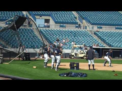 New York Yankees Catchers practice on Steinbrenner Field - Spring Training 2010