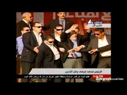 Egypt's President Mohamed Morsi takes a symbolic oath in Tahrir Square