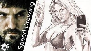 SEXY Bikini GIRL from GTA 5 - 4 hours Speed Drawing!