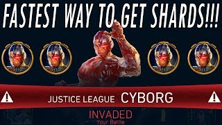 FASTEST WAY TO GET JUSTICE LEAGUE CYBORG SHARDS IN ARENA! Easiest / Best Invasion Injustice 2 Mobile